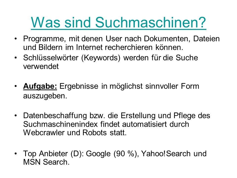 Was sind Suchmaschinen
