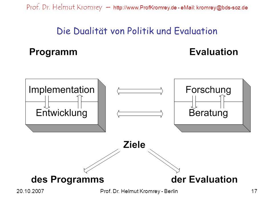 Die Dualität von Politik und Evaluation