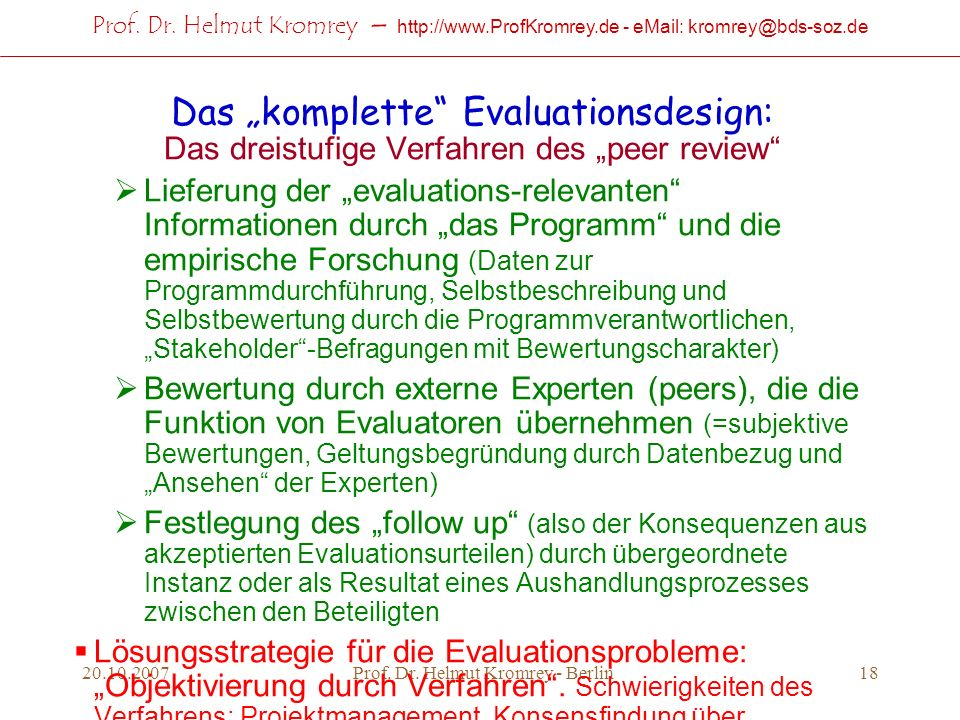"Das ""komplette Evaluationsdesign:"