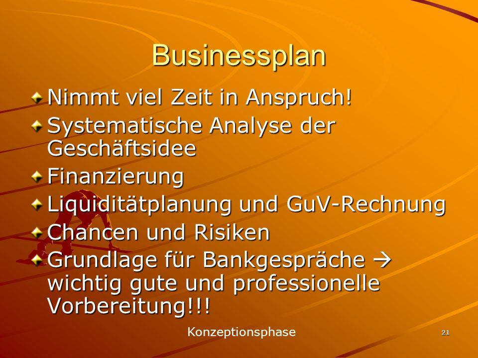 Businessplan Nimmt viel Zeit in Anspruch!