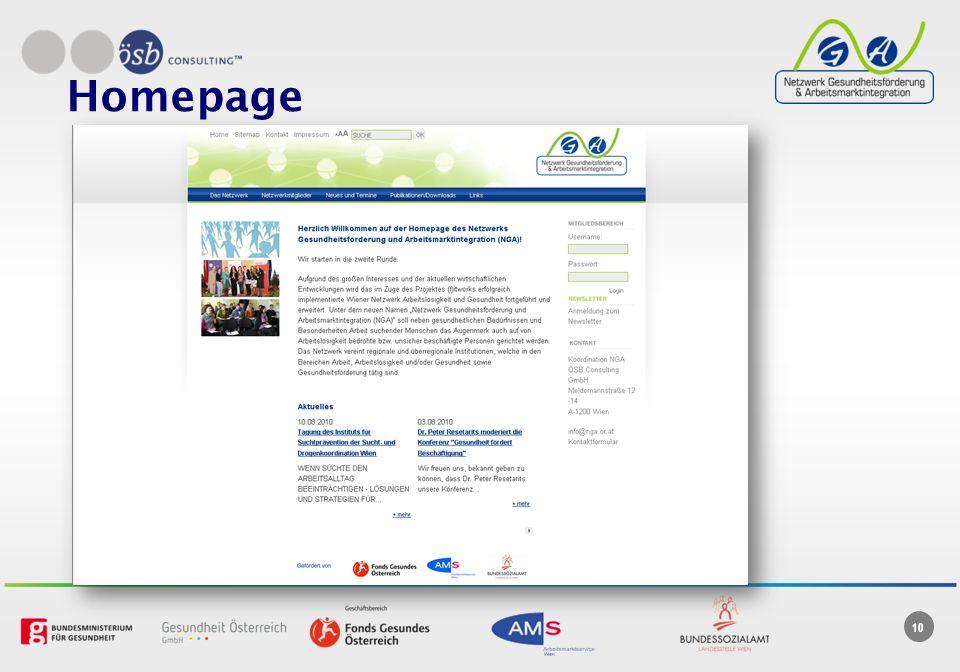 Homepage Interner externer Bereich (Protokolle, etc.)