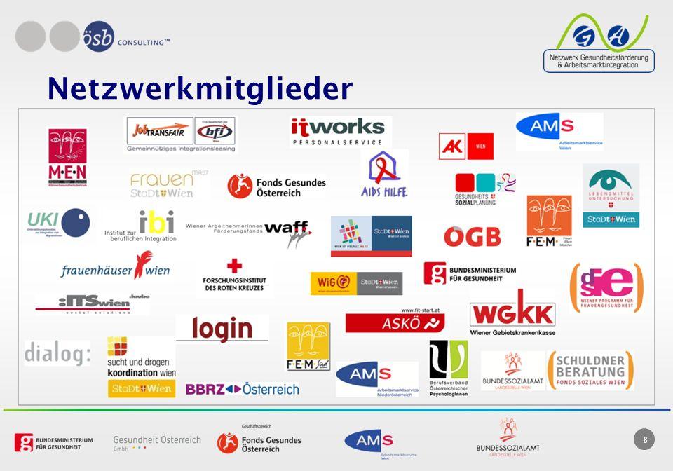 Netzwerkmitglieder Die Netzwerkmitglieder sind aus den Bereichen Arbeit, Arbeitsmarktintegration, Gesundheit und Gesundheitsförderung.