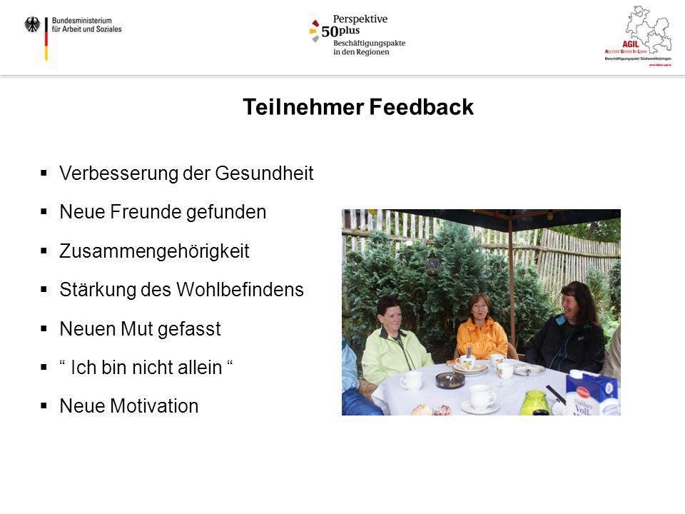 Teilnehmer Feedback Verbesserung der Gesundheit Neue Freunde gefunden