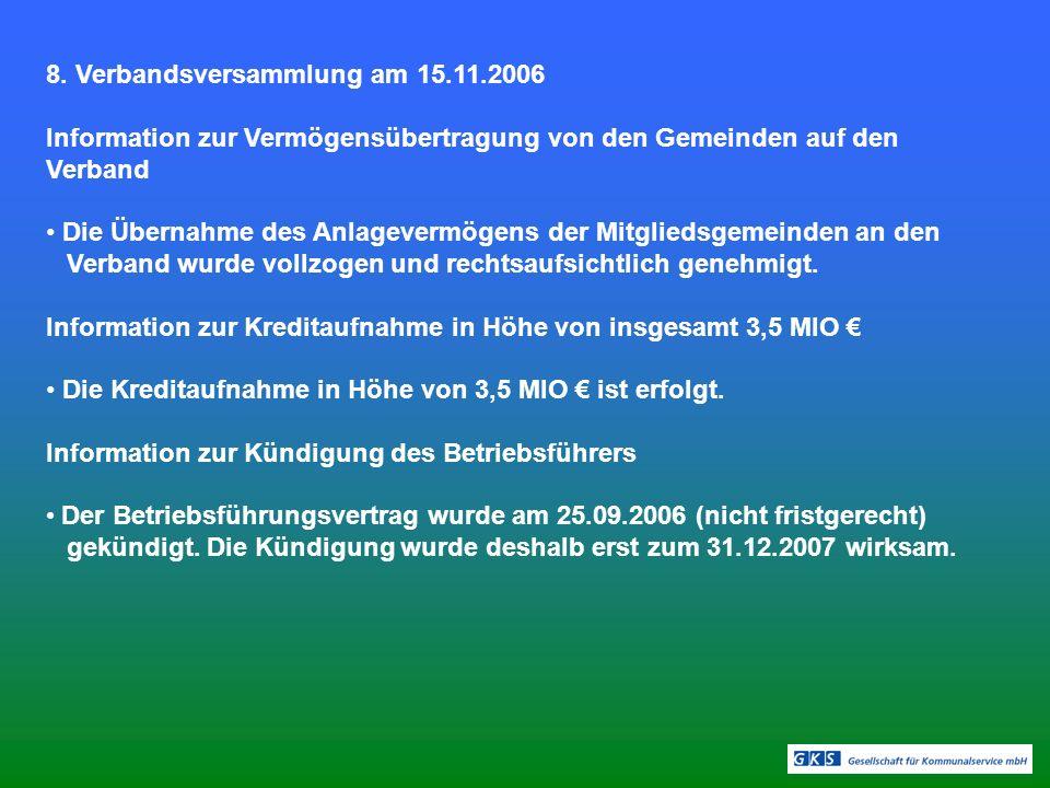 8. Verbandsversammlung am 15.11.2006