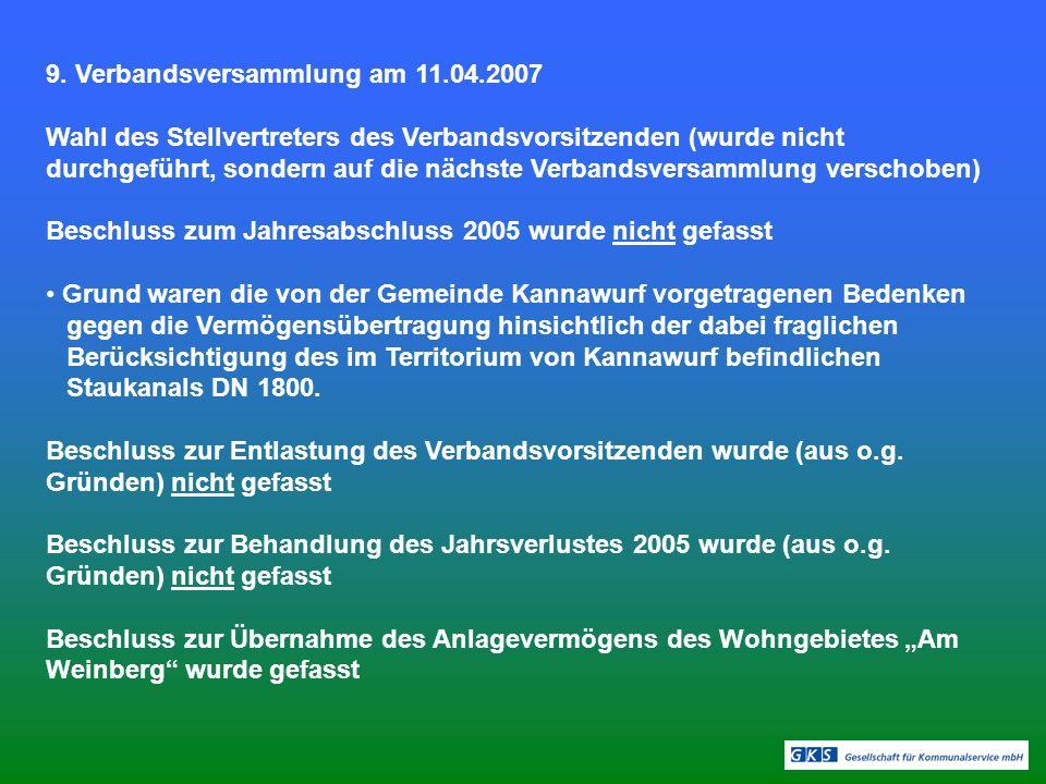 9. Verbandsversammlung am 11.04.2007