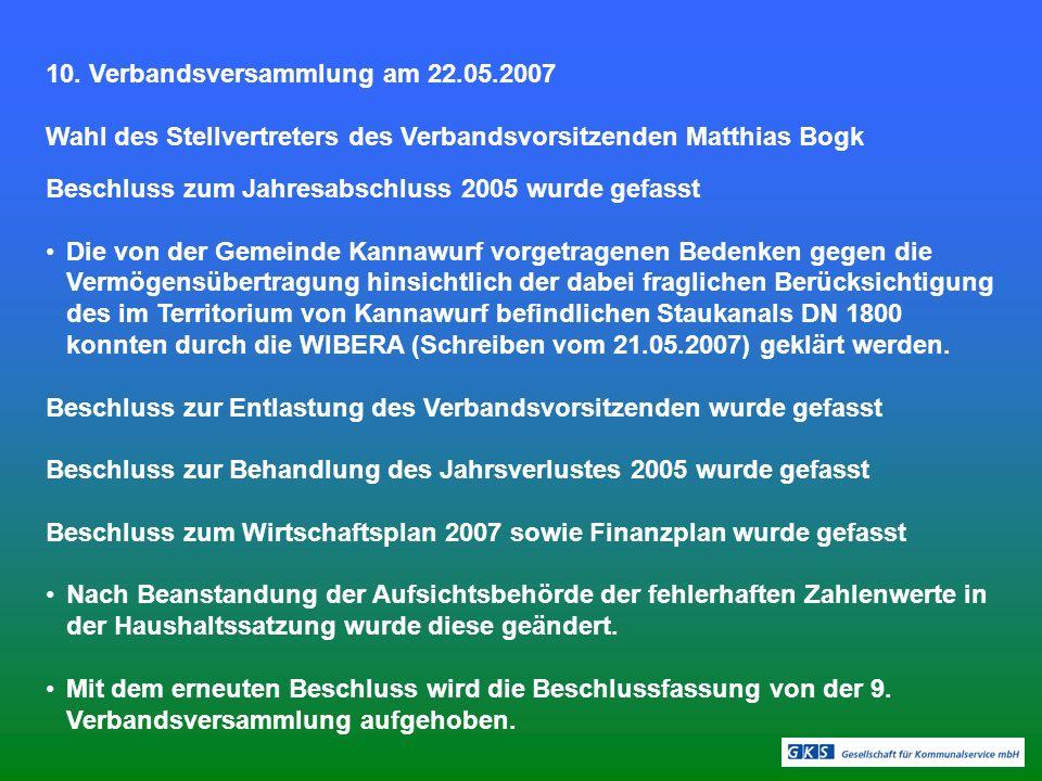 10. Verbandsversammlung am 22.05.2007
