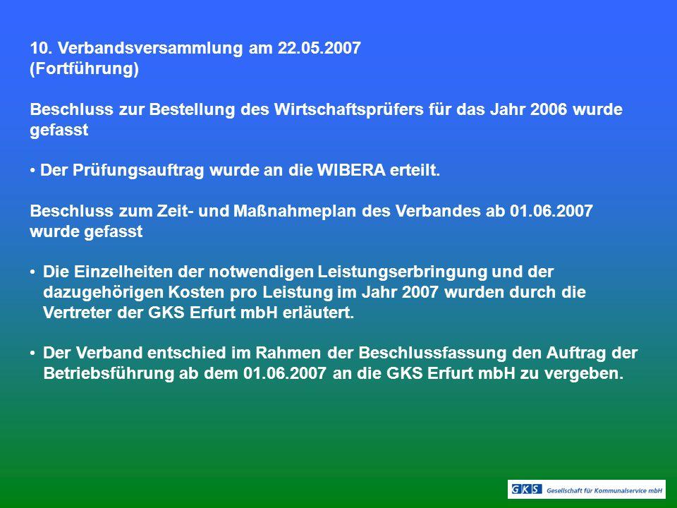 10. Verbandsversammlung am 22.05.2007 (Fortführung)