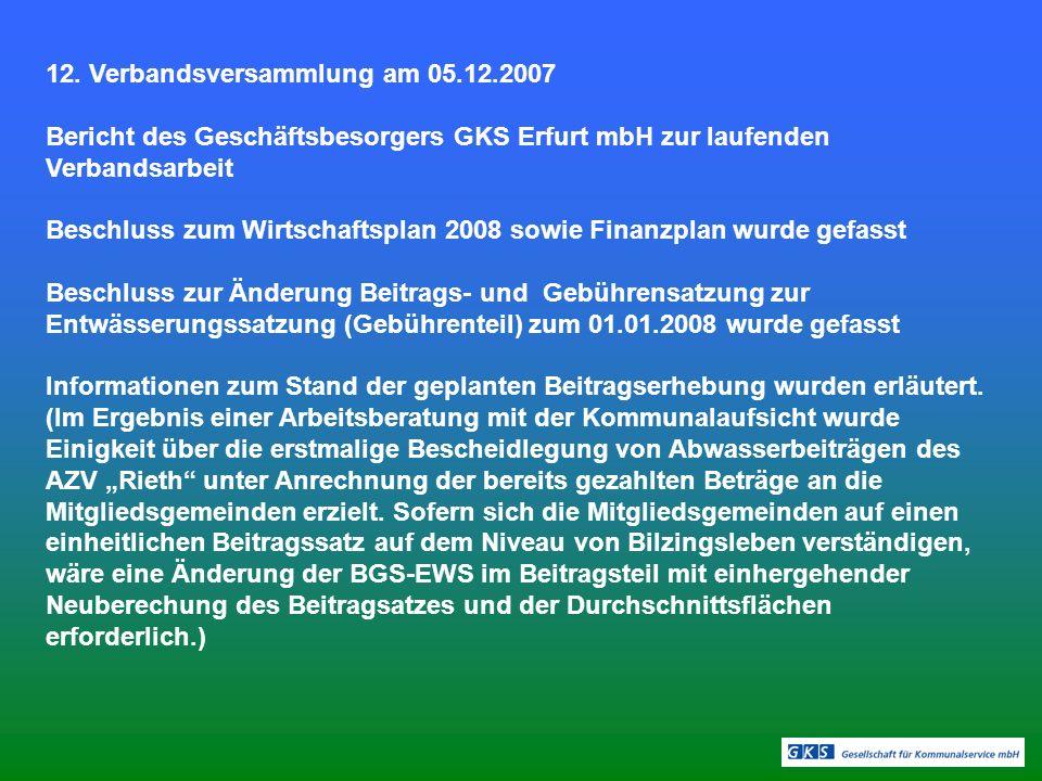 12. Verbandsversammlung am 05.12.2007