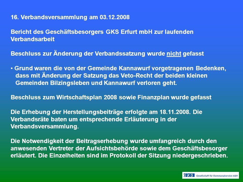 16. Verbandsversammlung am 03.12.2008