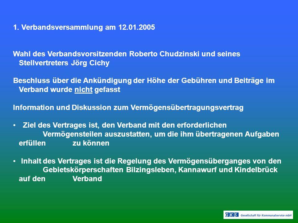 1. Verbandsversammlung am 12.01.2005