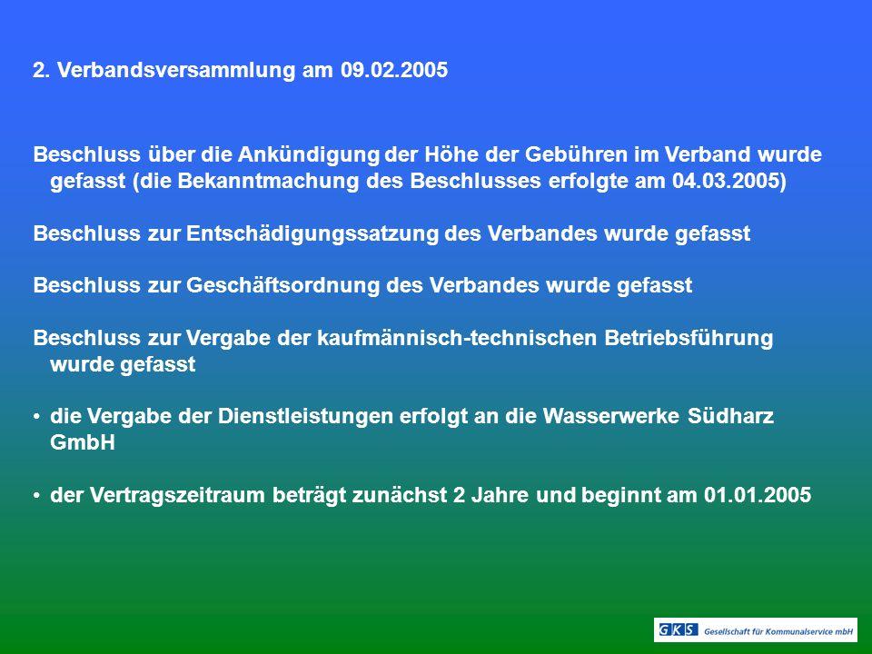 2. Verbandsversammlung am 09.02.2005