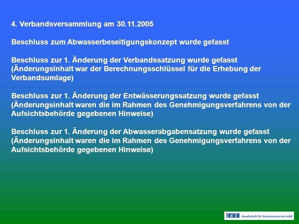 4. Verbandsversammlung am 30.11.2005