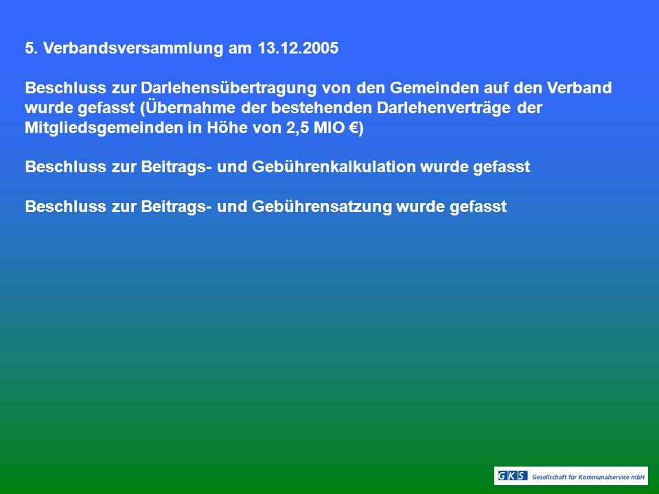 5. Verbandsversammlung am 13.12.2005
