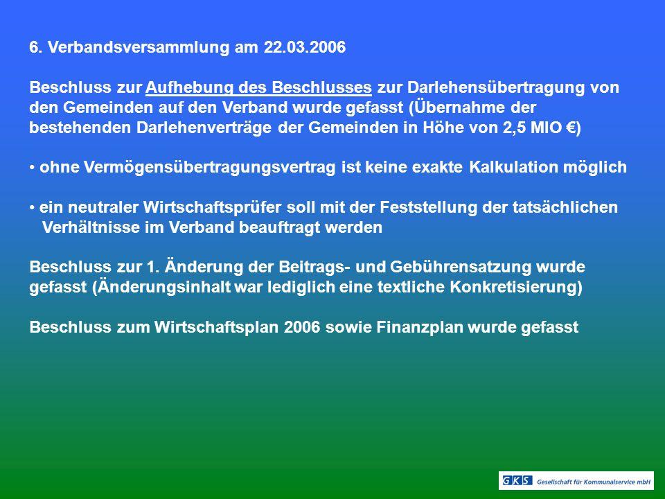 6. Verbandsversammlung am 22.03.2006