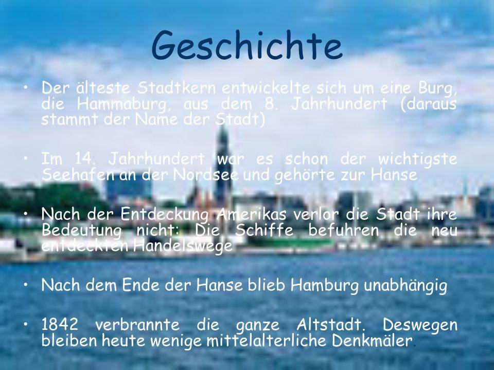 Geschichte Der älteste Stadtkern entwickelte sich um eine Burg, die Hammaburg, aus dem 8. Jahrhundert (daraus stammt der Name der Stadt)