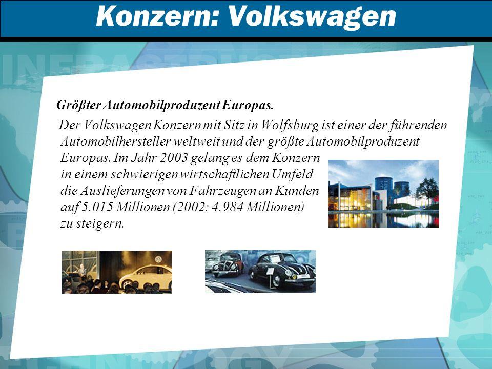 Konzern: Volkswagen Größter Automobilproduzent Europas.