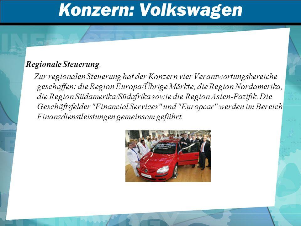 Konzern: Volkswagen Regionale Steuerung.
