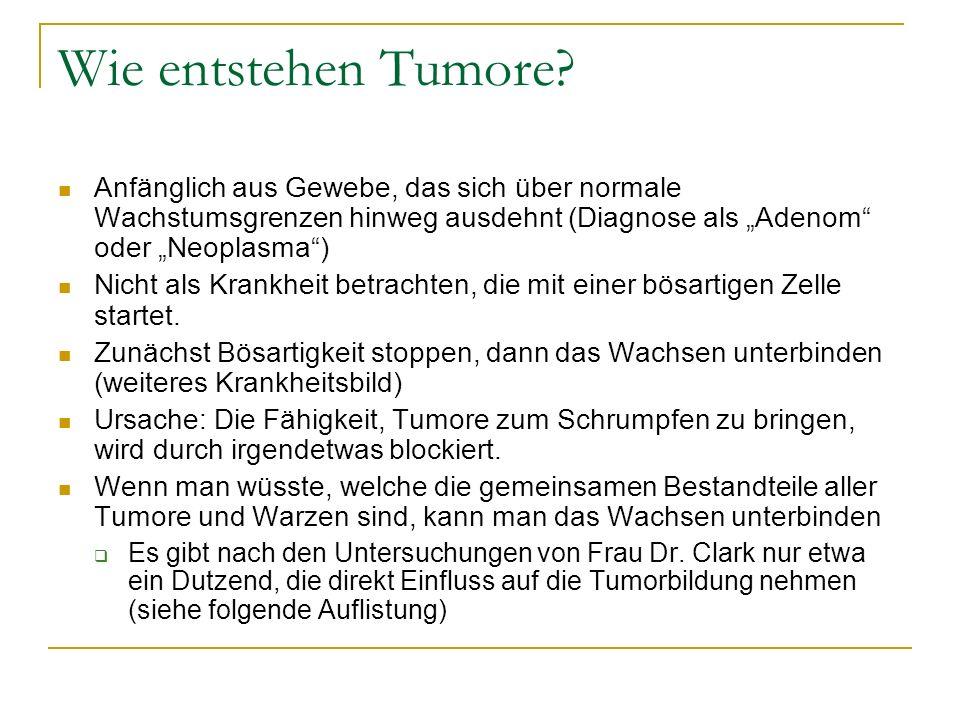 """Wie entstehen Tumore Anfänglich aus Gewebe, das sich über normale Wachstumsgrenzen hinweg ausdehnt (Diagnose als """"Adenom oder """"Neoplasma )"""