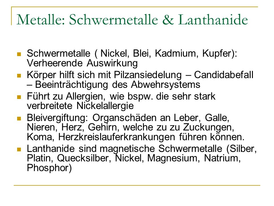 Metalle: Schwermetalle & Lanthanide