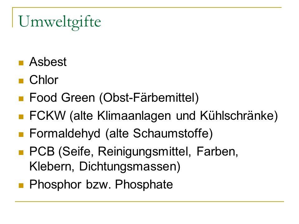 Umweltgifte Asbest Chlor Food Green (Obst-Färbemittel)