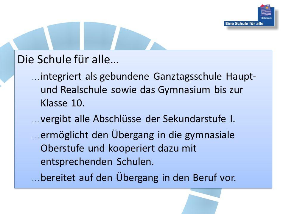 Die Schule für alle… integriert als gebundene Ganztagsschule Haupt- und Realschule sowie das Gymnasium bis zur Klasse 10.