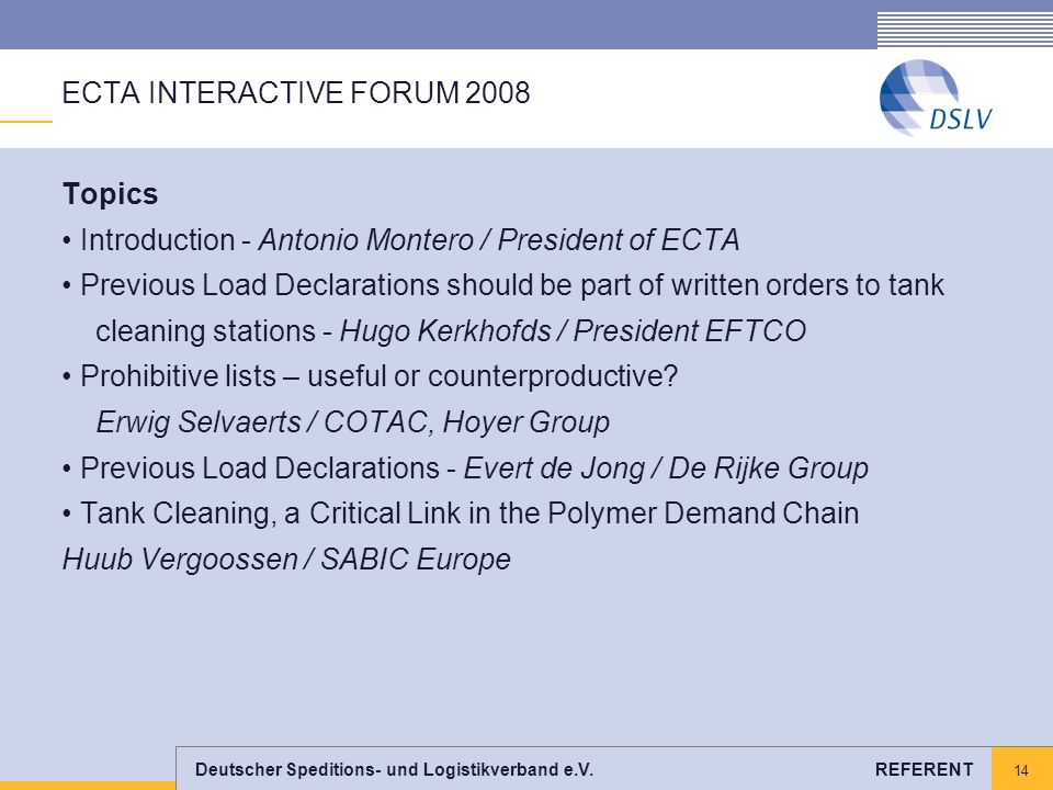 ECTA INTERACTIVE FORUM 2008