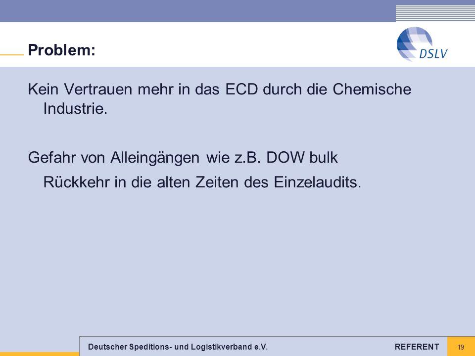 Problem: Kein Vertrauen mehr in das ECD durch die Chemische Industrie. Gefahr von Alleingängen wie z.B. DOW bulk.