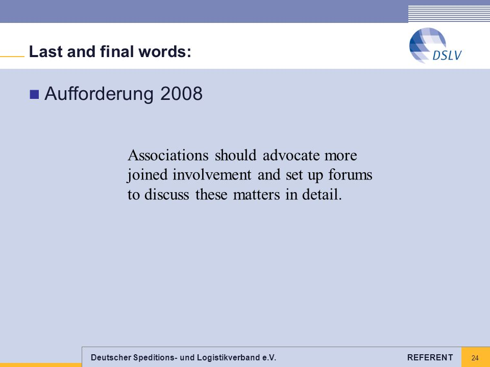 Aufforderung 2008 Last and final words: