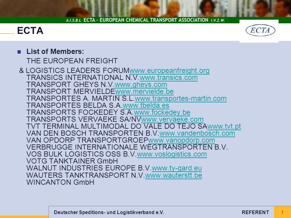 ECTA List of Members: THE EUROPEAN FREIGHT