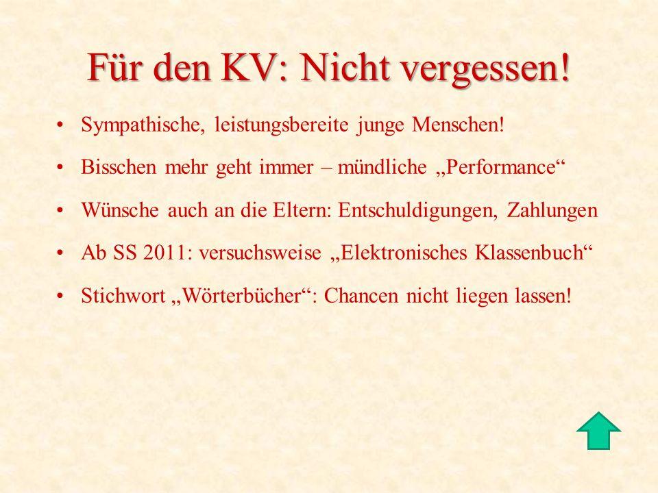 Für den KV: Nicht vergessen!