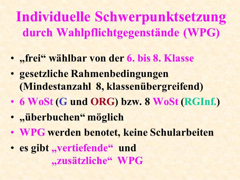 Individuelle Schwerpunktsetzung durch Wahlpflichtgegenstände (WPG)