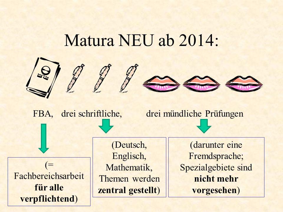 Matura NEU ab 2014: FBA, drei schriftliche, drei mündliche Prüfungen