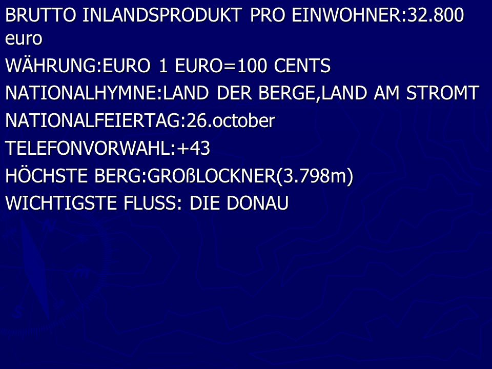 BRUTTO INLANDSPRODUKT PRO EINWOHNER:32.800 euro