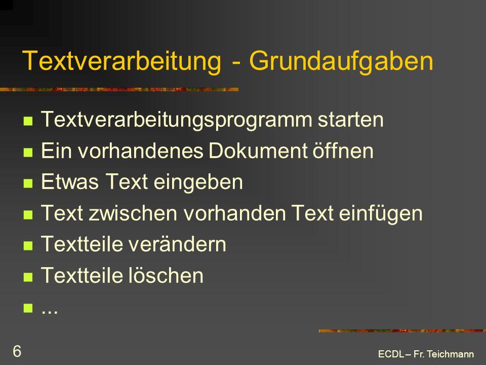 Textverarbeitung - Grundaufgaben