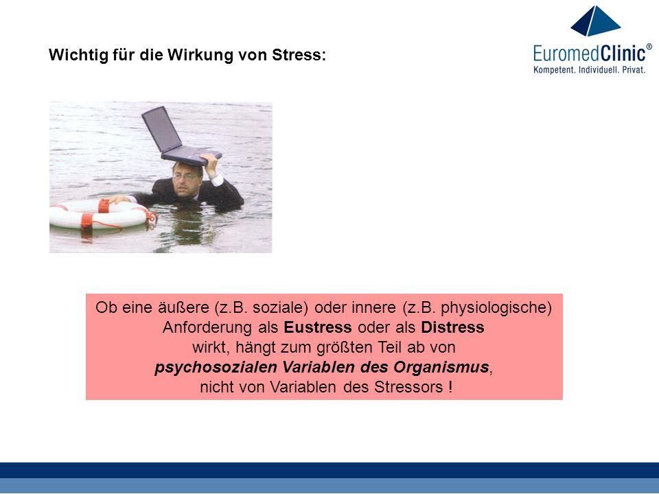 Wichtig für die Wirkung von Stress: