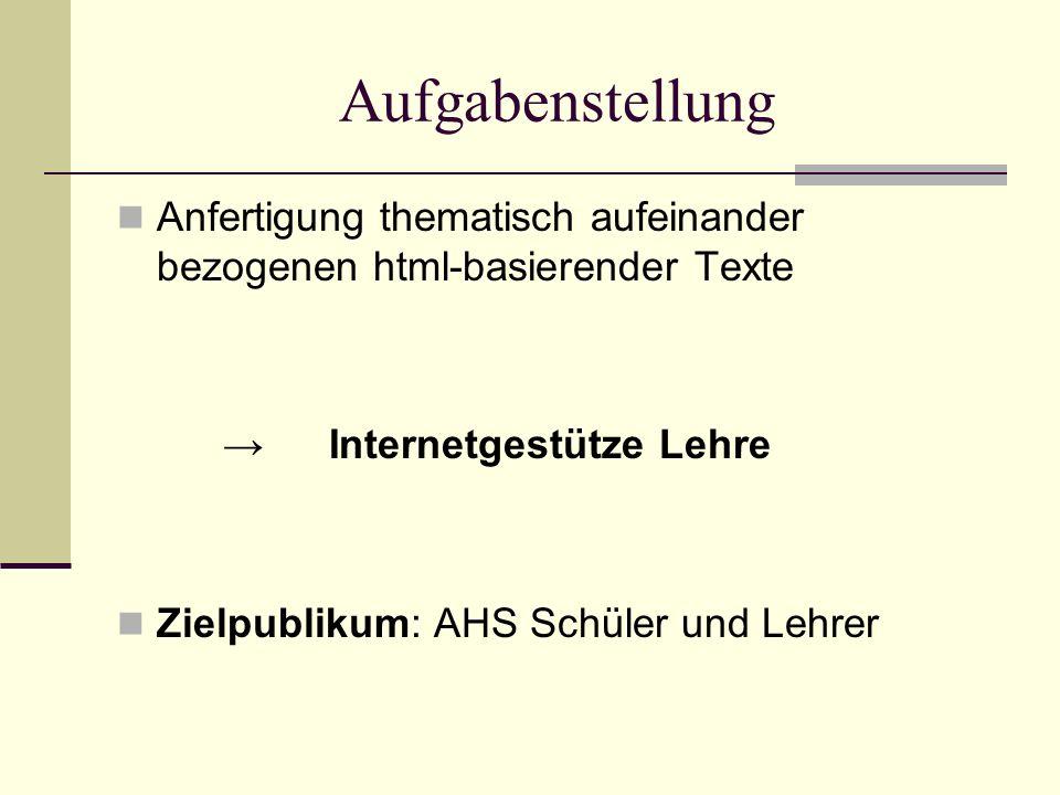 Aufgabenstellung Anfertigung thematisch aufeinander bezogenen html-basierender Texte. → Internetgestütze Lehre.