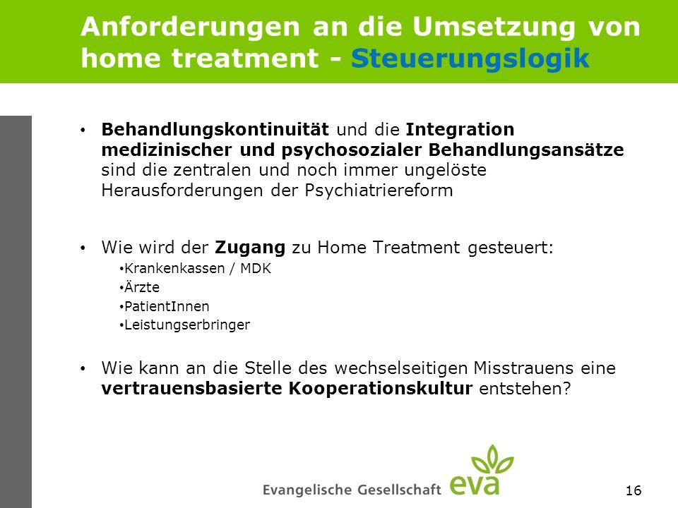 Anforderungen an die Umsetzung von home treatment - Steuerungslogik