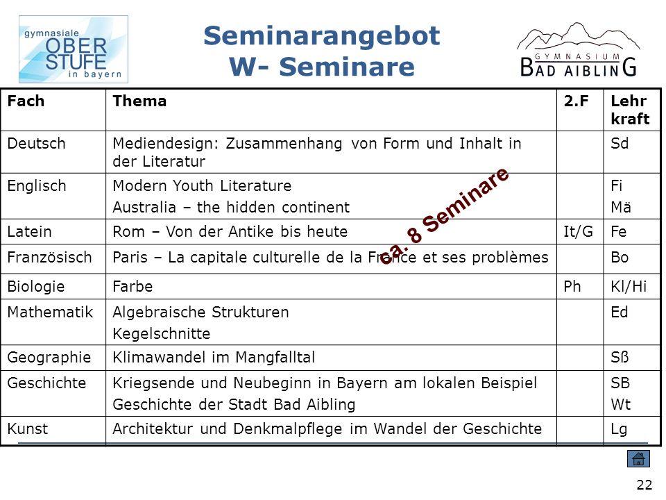 Seminarangebot W- Seminare
