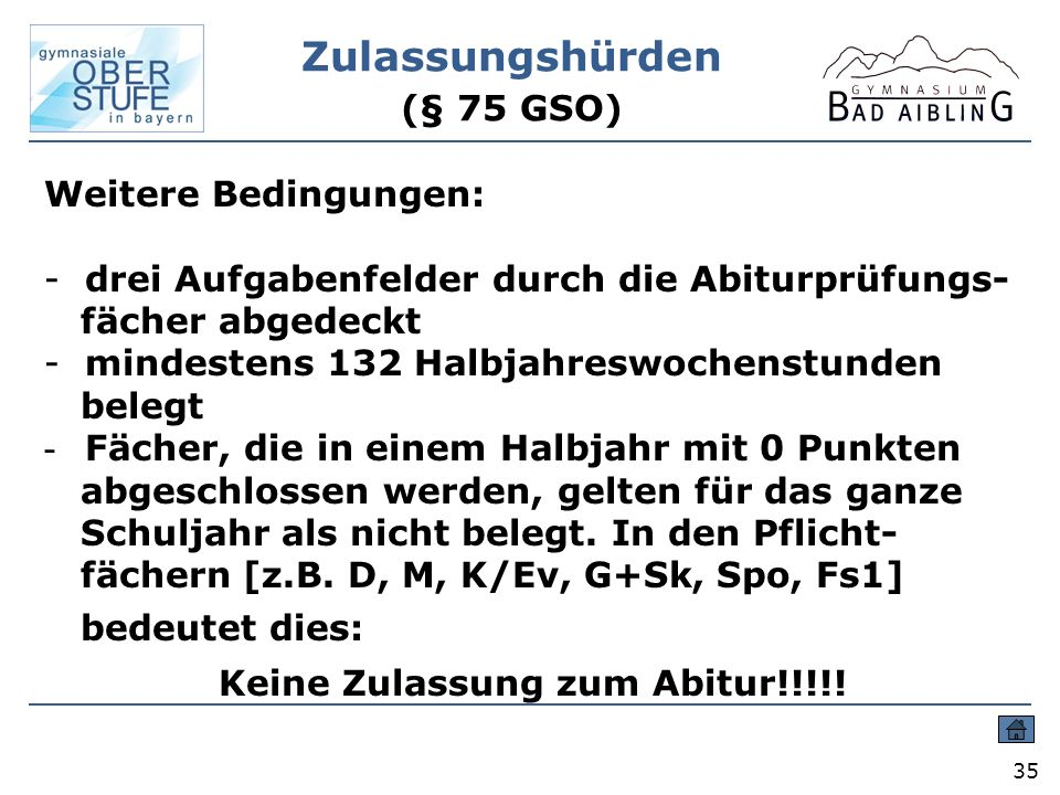 Zulassungshürden (§ 75 GSO)