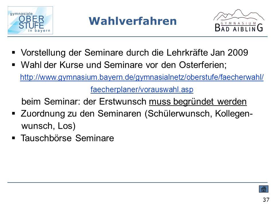 Wahlverfahren Vorstellung der Seminare durch die Lehrkräfte Jan 2009