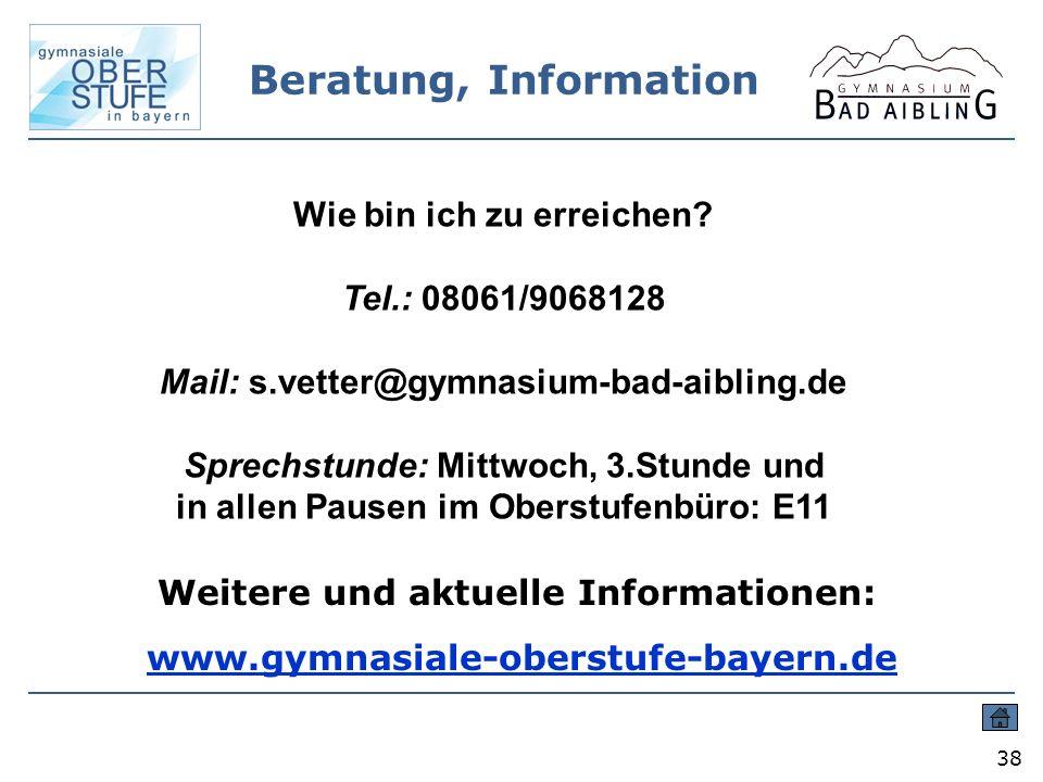 Beratung, Information Wie bin ich zu erreichen Tel.: 08061/9068128