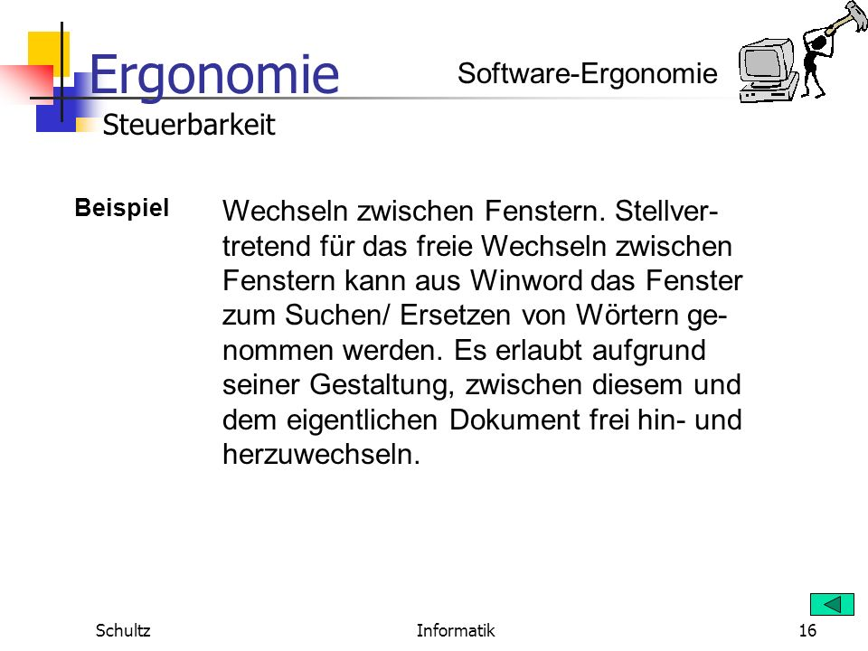 Software-Ergonomie Steuerbarkeit