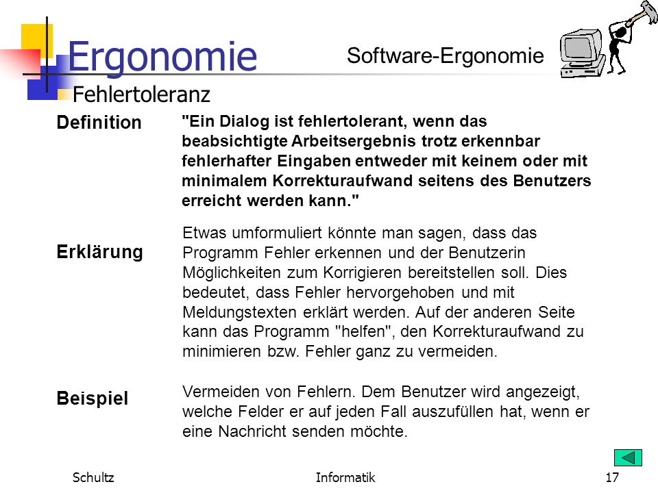 Software-Ergonomie Fehlertoleranz Definition Erklärung Beispiel