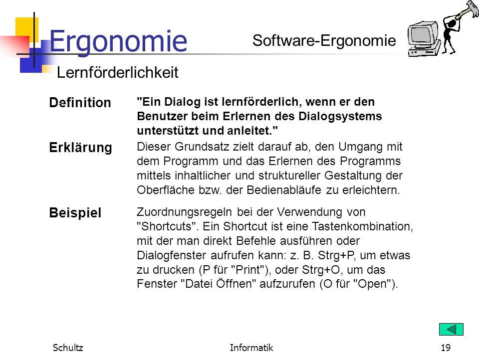 Software-Ergonomie Lernförderlichkeit Definition Erklärung Beispiel