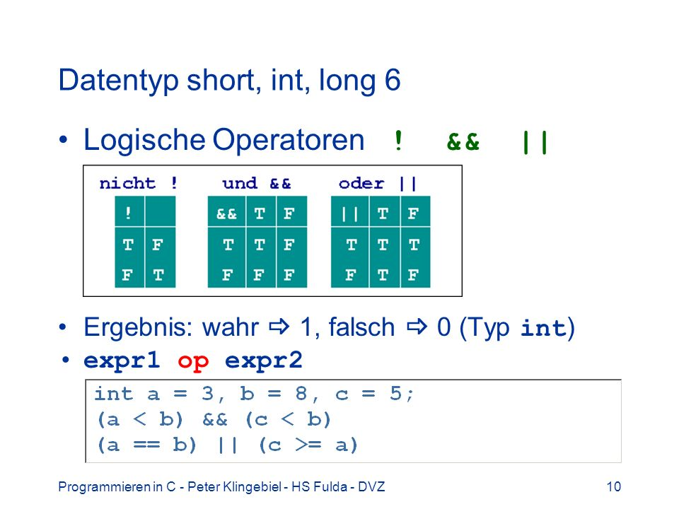 Datentyp short, int, long 6