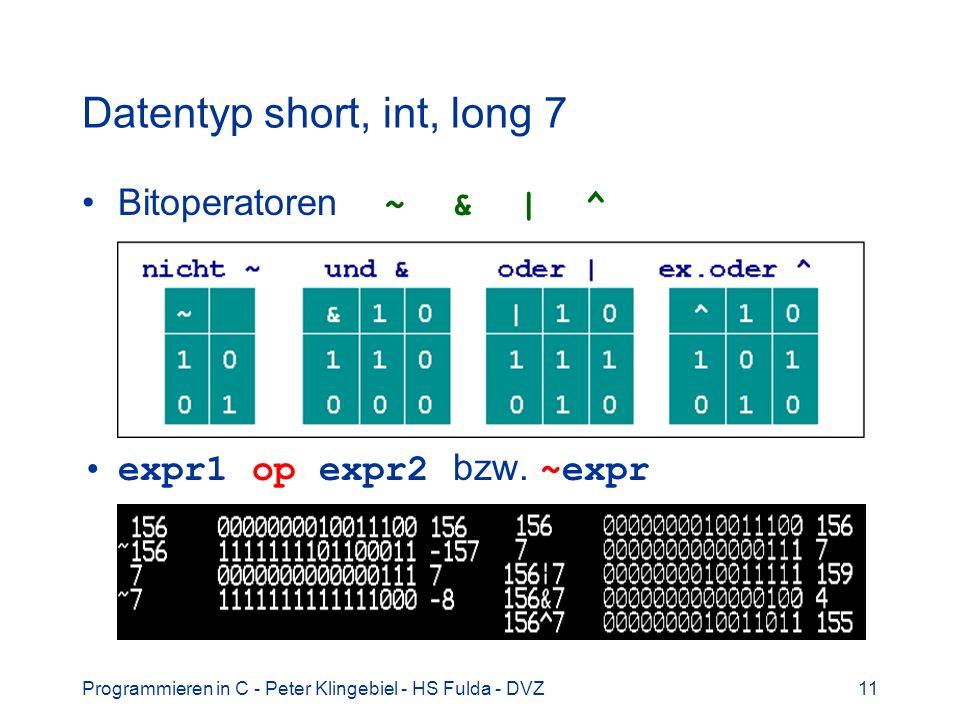 Datentyp short, int, long 7