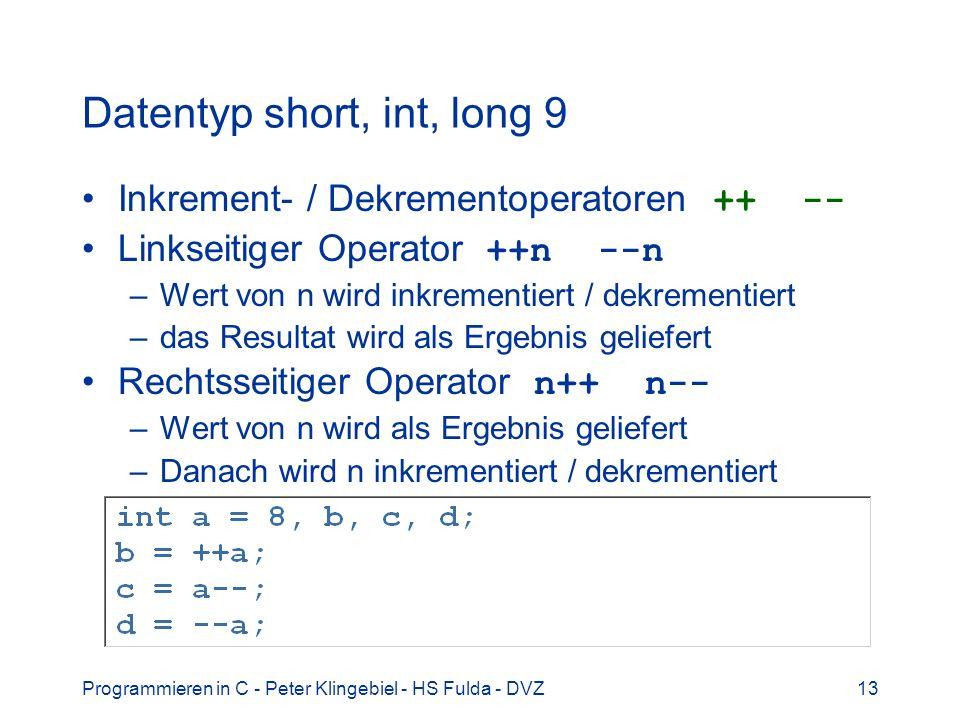 Datentyp short, int, long 9