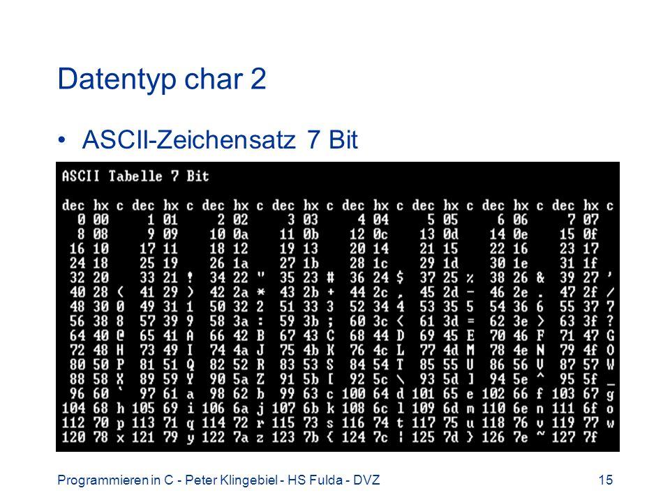 Datentyp char 2 ASCII-Zeichensatz 7 Bit