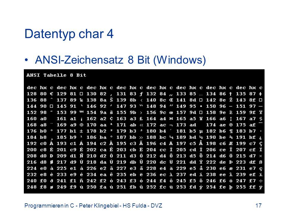 Datentyp char 4 ANSI-Zeichensatz 8 Bit (Windows)