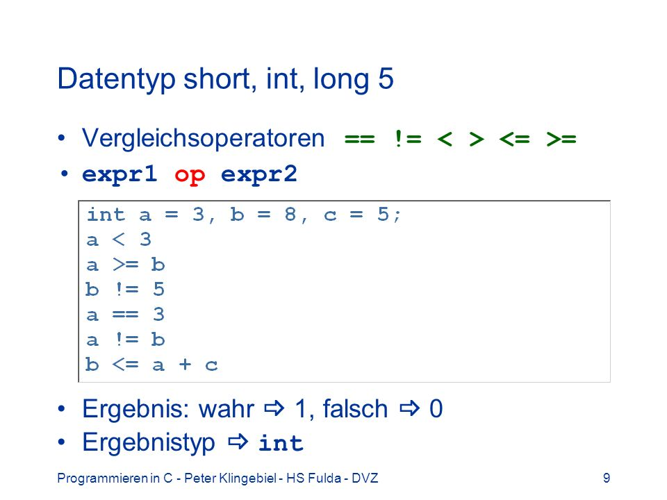 Datentyp short, int, long 5